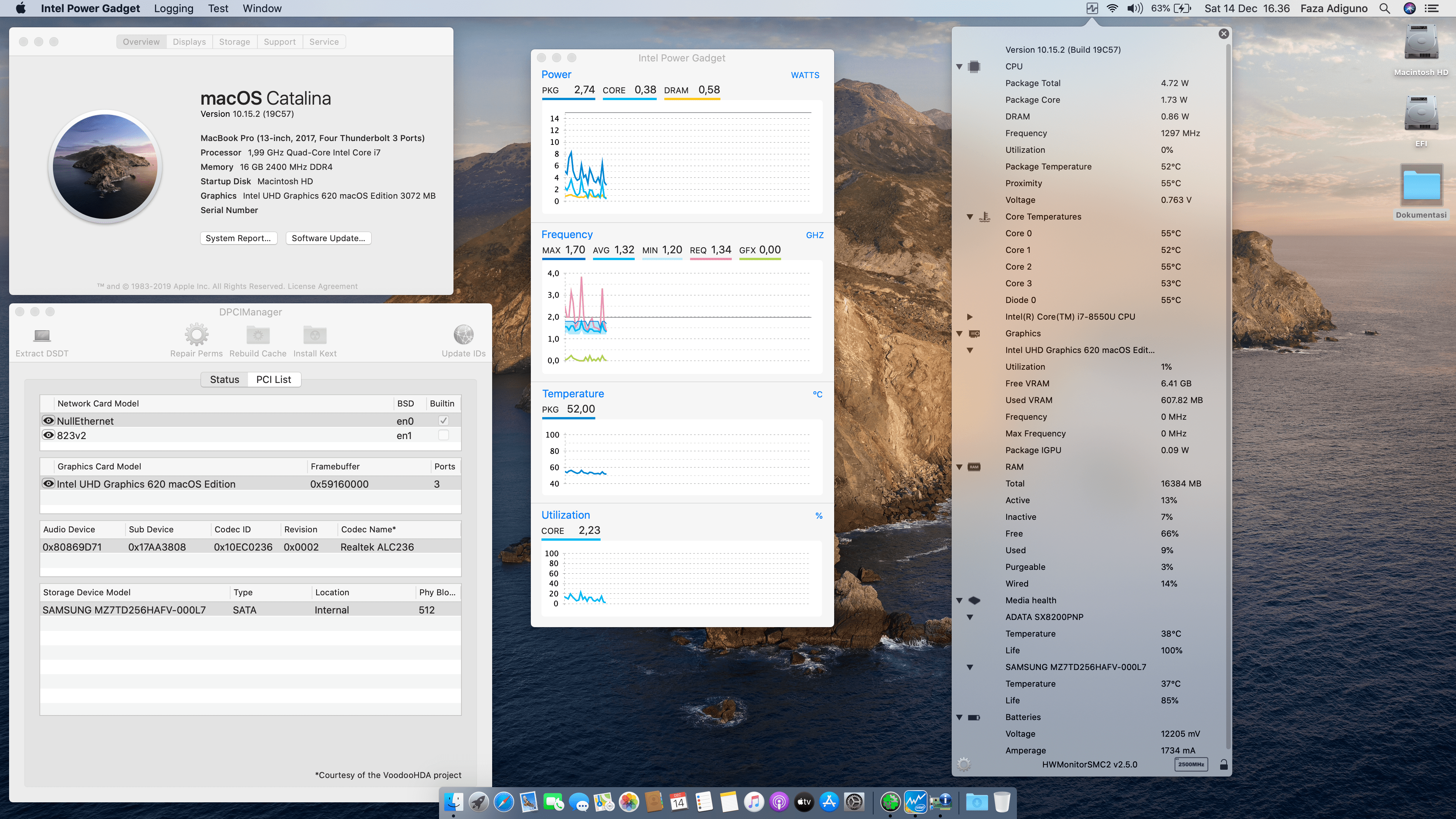 Success Hackintosh macOS Catalina 10.15.2 Build 19C57 at Lenovo Flex 5-15 X360 Touch